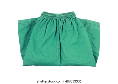 it is green folding short pants isolated on white.