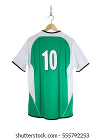 Green Football shirt number 10 hanging on hook and isolated on white background