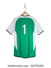 Green Football shirt number one hanging on hook and isolated on white background