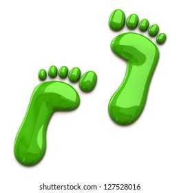 Green footprints isolated on white background