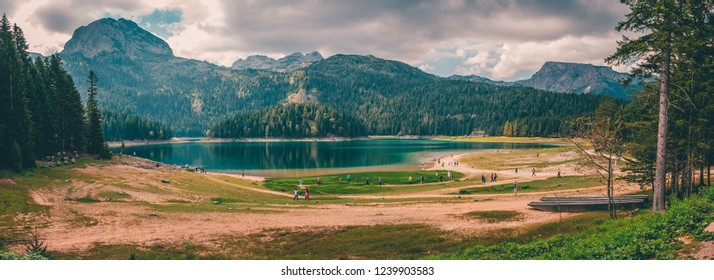 Green forest and blue lake near Zabljak, Crna Gora , panorama
