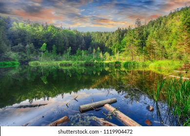 Green forest, dramatic sky, meadow and reflection in water. Cranberry or Dead lake in Carpathian mountains. National natural park Skole Beskydy, Ukraine.