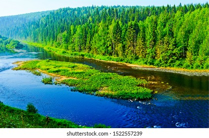 Green forest river landscape. Forest river in mountains. Green forest river valley landscape. River in forest