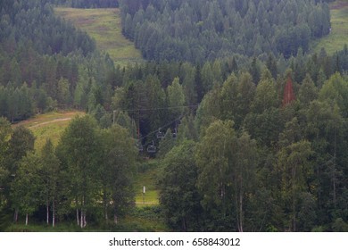 Green forest with ski lift in Finland. Summer day.