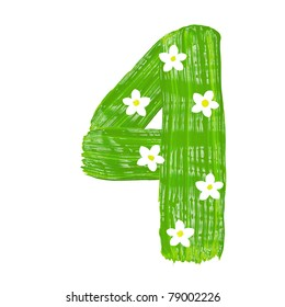 The green four drawn by paints with white blossom
