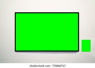 green frame on the wall