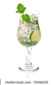 Green Fresh alcohol mojito cocktail in a cocktails glass isolated over white background