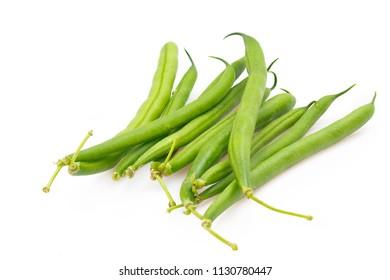 Green fresh beans isolated on white