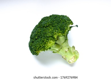 Green fresh broccoli on white background