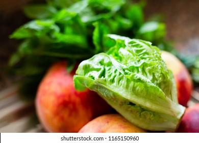 Green fresh lettuce, close-up, selective focus