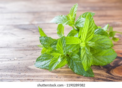 Green fresh mint on wooden table, selective focus.