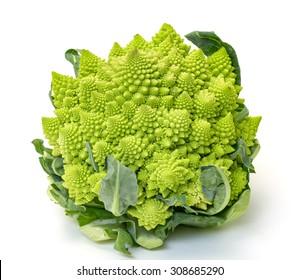 Green Fresh Romanesque Cauliflower, on white background
