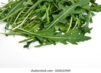 green fresh ruccola isolated on white background, close up studio shot