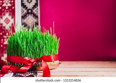 Green fresh semeni sabzi wheat grass on vintage plate decorated with red satin ribbon against dark pink or red background on national style table cloth, Novruz spring celebration in Azerbaijan