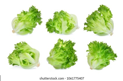 green frillice iceberg lettuce isolated on white background