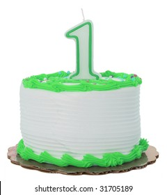 Green Frosted 1st Year Birthday Cake on Isolated Background