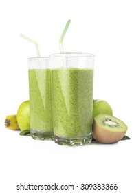 Green fruit smoothie with banana, apple and kiwi