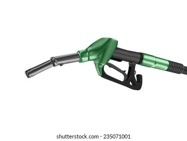 Green fuel nozzle isolated on white background. 3D render