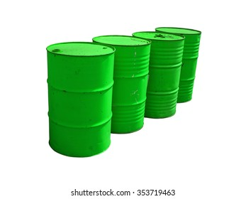 Green fuel tanks stacked  isolated on white background. Clipping path.