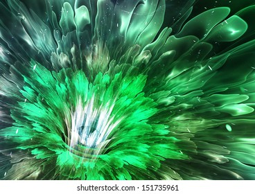 Green futuristic flower