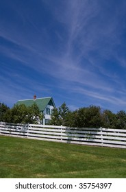 Green Gables Farm, shot below Beautiful Sky, with White Picket fence