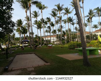 The green garden in the Centara Hotel Koh Samui on July 29, 2018 Thailand. A picture of morning exercise for the guests practicing yoga in the big garden full of coconut trees