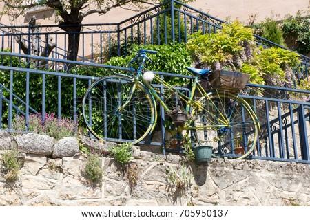 Green Garden Deco Bike With Flower Pots