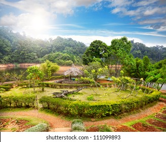 Green garden and summer house in Periyar wildlife sanctuary in Kerala, India