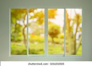 green garden view through the window