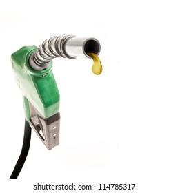 Green gas nozzle with one last drop on white background