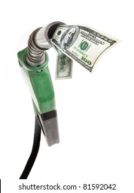 Green gas pump with dollar bills strong perspective isolated on white