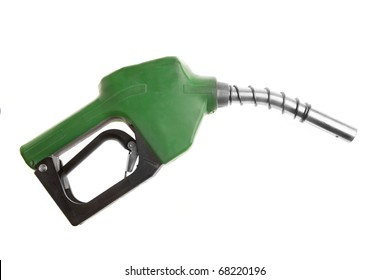 Green gas pump isolated on white