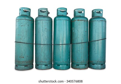 Green gas tanks and chain on isolated background.