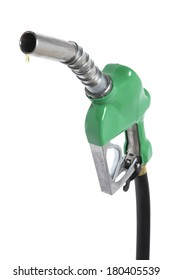 green gasoline handle and hose with drip on white background