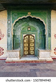The Green Gate in Pitam Niwas Chowk at Jaipur City Palace in India.