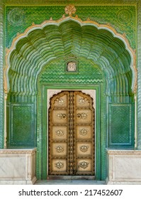 The Green Gate in Pitam Niwas Chowk, Jaipur City Palace, India.
