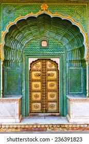 Green Gate in Pitam Niwas Chowk. Exterior of Jaipur City Palace, India.