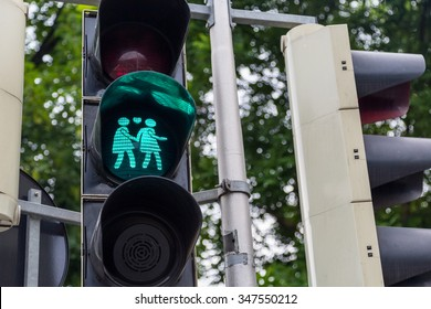A green gay themed Vienna traffic light