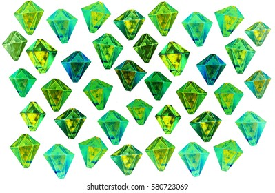Green gemstones, hand drawn decorative diamonds for cloth, print, design, icon, logo, poster, textile, paper, card, invitation, holiday. Color magic art. Object isolated illustration.
