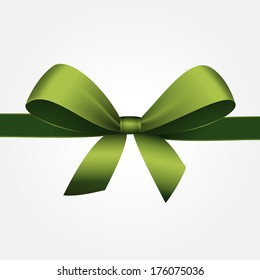 Green Gift Bow with Ribbon Isolated on White Background