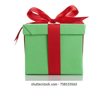 green gift box with red ribbon bow isolated on white