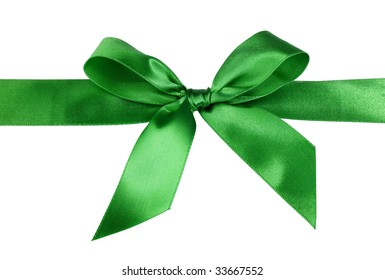 green gift satin ribbon bow on white background