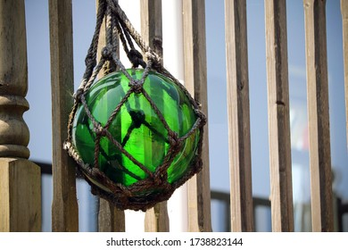 Green Glass Ball Garden Ornament