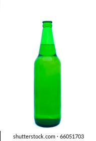 Green glass of beer isolated on white