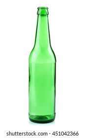 green glass bottle on white isolated background