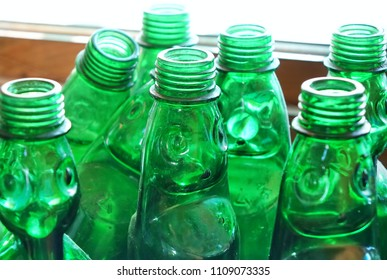 Green glass bottles used for lemonade in times past