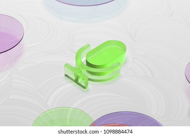 Green Glass Microphone Icon on the White Oil Background. 3D Illustration of Green Mic, Microphone, Old Microphone, Radio Mic Icon Set on the White Background.