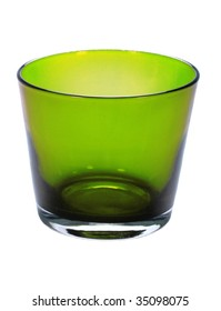 green glass on the white background