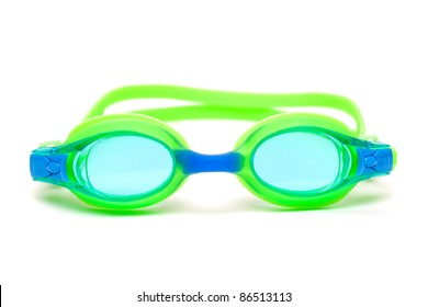 green glasses for swim on white background
