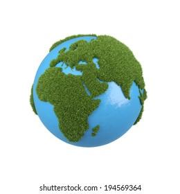 A green globe, illustration.